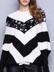 Black-white Crew Neck Color-block Casual Sweater
