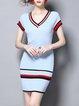 V Neck Short Sleeve Sheath Mini Dress