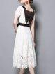 Shorts Sleeve Casual A-line Paneled Lace  Midi Dress