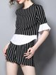 Black Stripes Frill Sleeve Crew Neck Two Piece Top With Pants