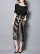 Half Sleeve Bateau/boat Neck Stripes Casual Top With Pants