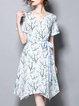 Floral-print Shorts Sleeve Asymmetrical Midi Dress