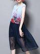 Blue Floral Sleeveless A-line Midi Dress