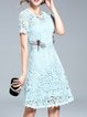 Light Blue A-line Guipure Lace Short Sleeve Crew Neck Dress With Cami