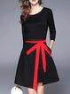 Black A-line 3/4 Sleeve Slit Solid Midi Dress