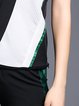 V Neck Color-block Sleeveless Casual Top With Pants