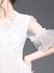 White Balloon Sleeve A-line Mini Dress