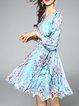 Light Blue Girly Floral-print Surplice Neck Mini Dress