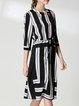 Black-grey Nylon A-line Casual Midi Dress