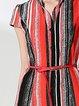 Shirt Collar Printed Half Sleeve Polyester Midi Dress