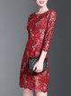 3/4 Sleeve Guipure Lace Polyester Elegant Mini Dress