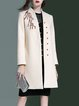 Wool Blend Long Sleeve Floral-embroidered Elegant H-line Coat