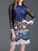 Blue Embroidered Color-block Sheath Long Sleeve Mini Dress