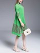 Ribbed 3/4 Sleeve Asymmetrical Midi Dress