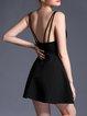Black Spaghetti Solid A-line Sexy Mini Dress