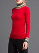 Red Jersey Casual Wool Sweater