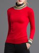 Red Jersey Stand Collar Casual Wool Sweater