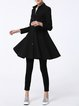 Black Pockets Long Sleeve A-line Coat
