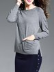 Gray Solid Casual Asymmetrical Sweater