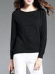 Black Solid Long Sleeve Crew Neck Sweater