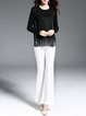 Black Fringed Solid Casual Sweater