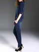 Blue Pierced Denim Half Sleeve Plain Jumpsuit