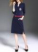 Navy Blue Polka Dots 3/4 Sleeve Midi Dress With Belts