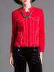Red Stand Collar Long Sleeve Cropped Jacket