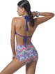 Blue Halter High Rise Printed Bikini