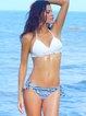 Blue Printed Padded Halter Bikini