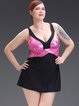 Plus Size Pink Prited Wireless Ruched Padded Tankini