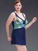 Plus Size Blue Straped Padded  Wireless Tankini
