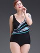 Plus Size Black Color-block Wireless Padded One-Piece