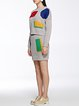 Gray Geometric Two Piece Long Sleeve Knitted Sweater Dress