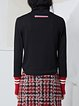 Black Cotton-blend Stripes Knitted Statement Long Sleeve Top