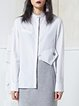 White Asymmetric Stripes Statement Stand Collar Blouse