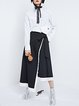 Black Color-block Plain Asymmetrical Statement Maxi Skirt