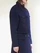 Navy Blue Shirt Collar Long Sleeve Plain Pockets Cropped Jacket