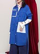 Blue Long Sleeve Color-block Shirt Collar Plain Coat