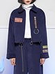 Navy Blue Letter Embroidered Shirt Collar Statement Grommet Cropped Jacket