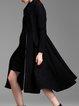 Wool Blend Long Sleeve Elegant A-line Plain Coat