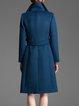 Blue Elegant Wool Blend Lapel Plain Coat With Belt