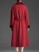 Long Sleeve Wool Blend Color-block Elegant Coat With Belt
