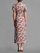 Sheath Ruched Vintage Polyester Short Sleeve Midi Dress
