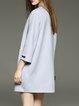 Light Gray Pockets 3/4 Sleeve H-line Wool Blend Coat