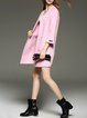 Pink H-line Pockets Elegant Wool Blend Coat