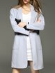 Wool Blend Buttoned 3/4 Sleeve Elegant Lapel Coat