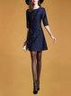 Embroidered Half Sleeve Midi Dress