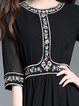 Embroidered Paneled A-line Casual Floral Midi Dress