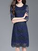 Blue Half Sleeve A-line Pierced Lace Midi Dress